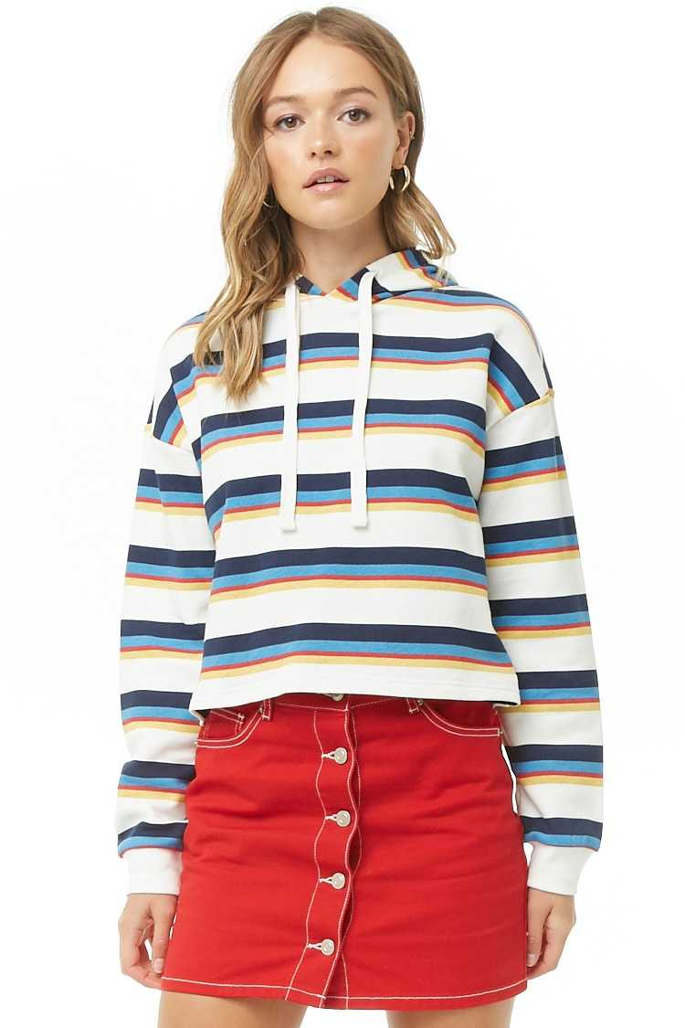 Forever 21 Striped French Terry Hoodie