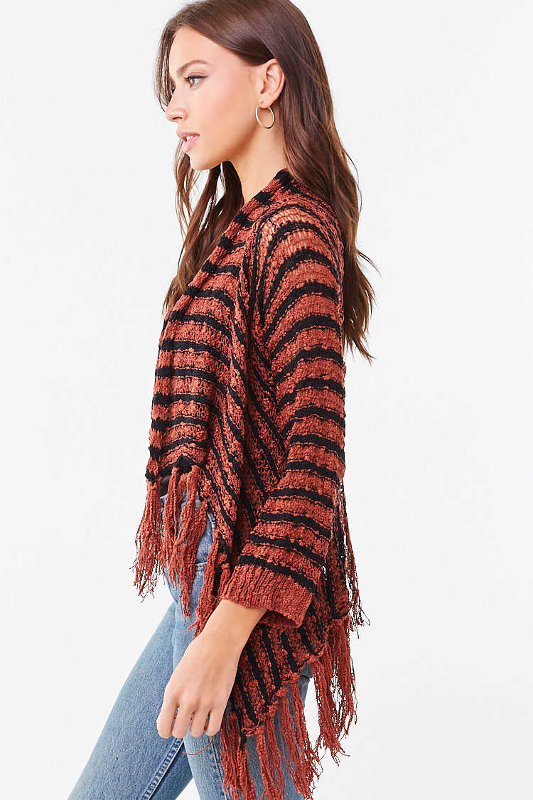 Forever 21 Striped Fringe Cardigan