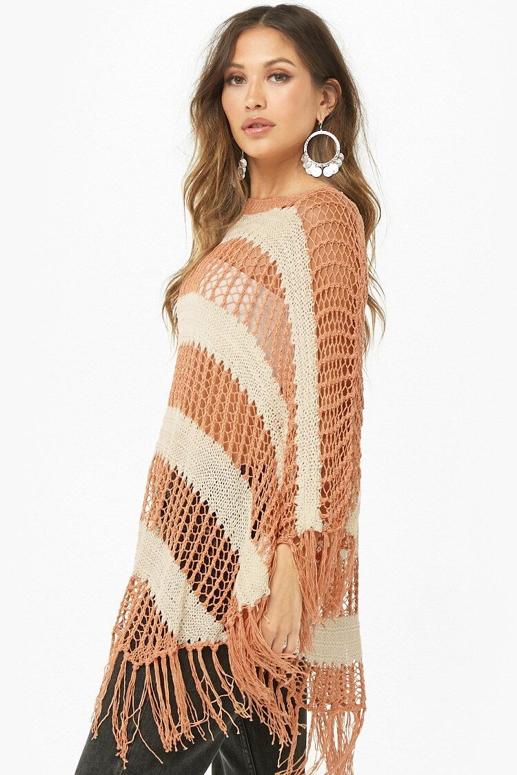 Forever 21 Striped Open-Knit Poncho