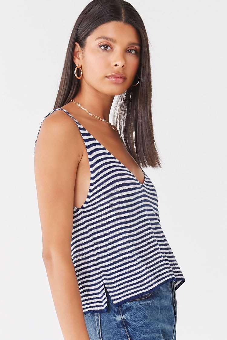 Forever 21 Striped Ribbed Knit Tank Top