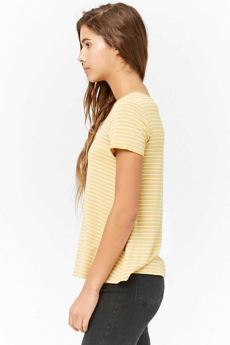 Forever 21 Striped Scoop-Neck Tee