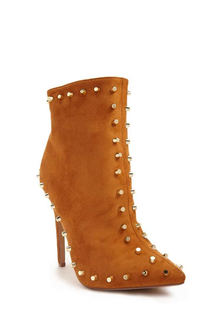Forever 21 Studded Faux Suede Ankle Boots