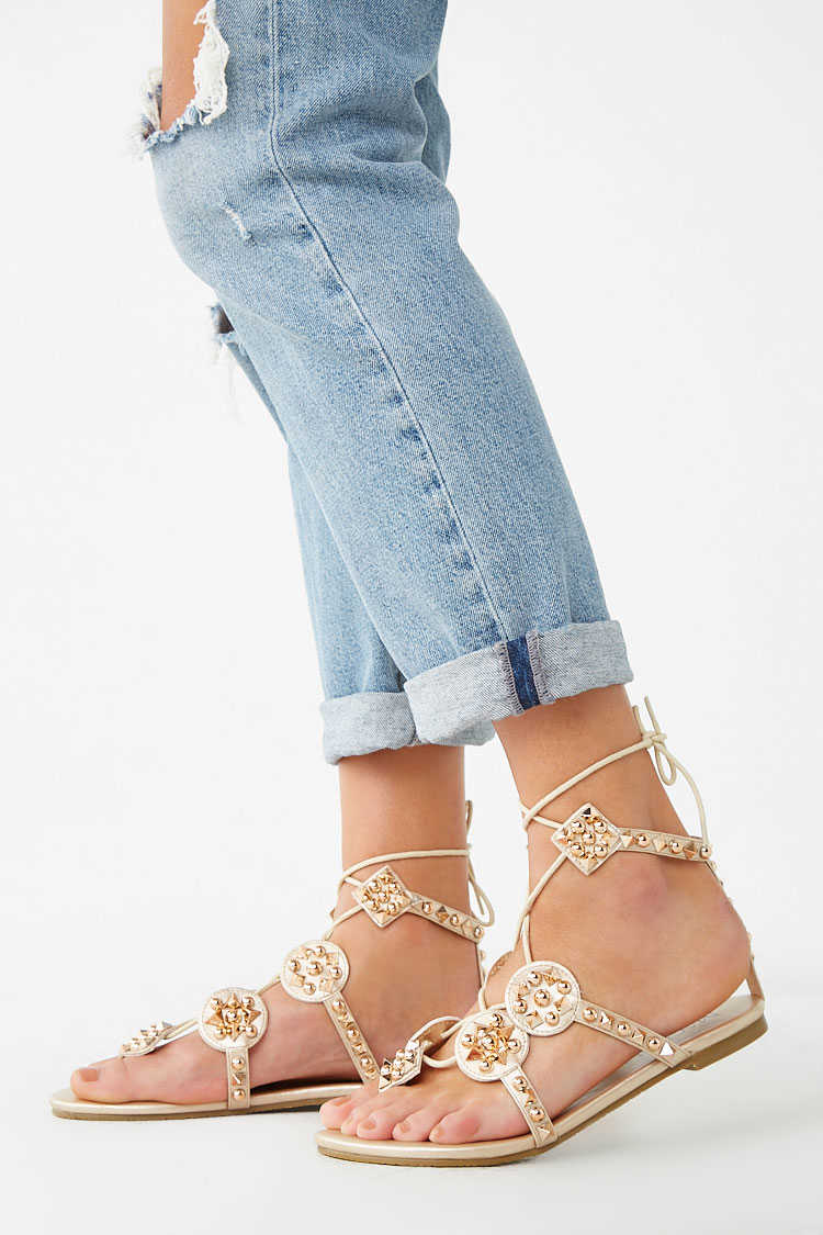 Forever 21 Studded Lace-Up Thong Sandals