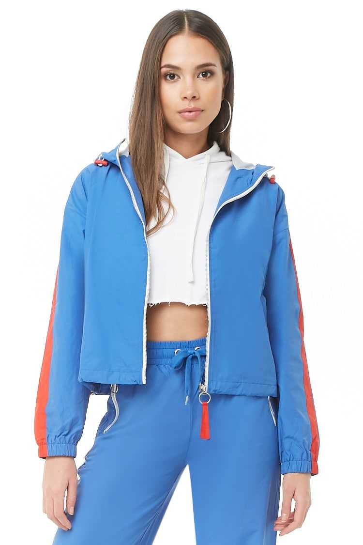 Forever 21 Toggle Striped-Trim Zip-Up Jacket