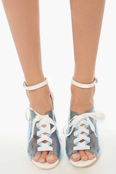 Forever 21 Transparent Lace-Up Heels