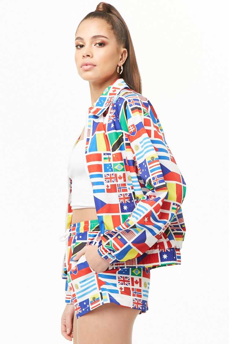 Forever 21 World Flags Graphic Windbreaker