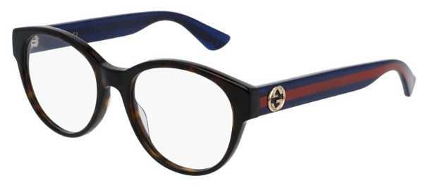 Gucci GG 0039O Eyeglasses Dark Havana with Blue/Red Temples USA - GOOFASH - Womens SUNGLASSES