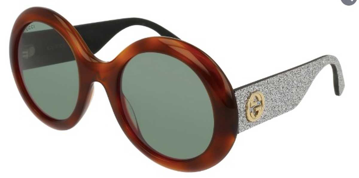 Gucci GG 0101S Sunglasses Havana/Grey Glitter with Green Lenses USA - GOOFASH - Womens SUNGLASSES