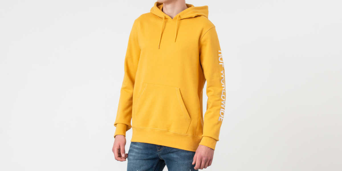 HUF Mission Hoodie Mineral Yellow USA - GOOFASH - Mens SWEATERS