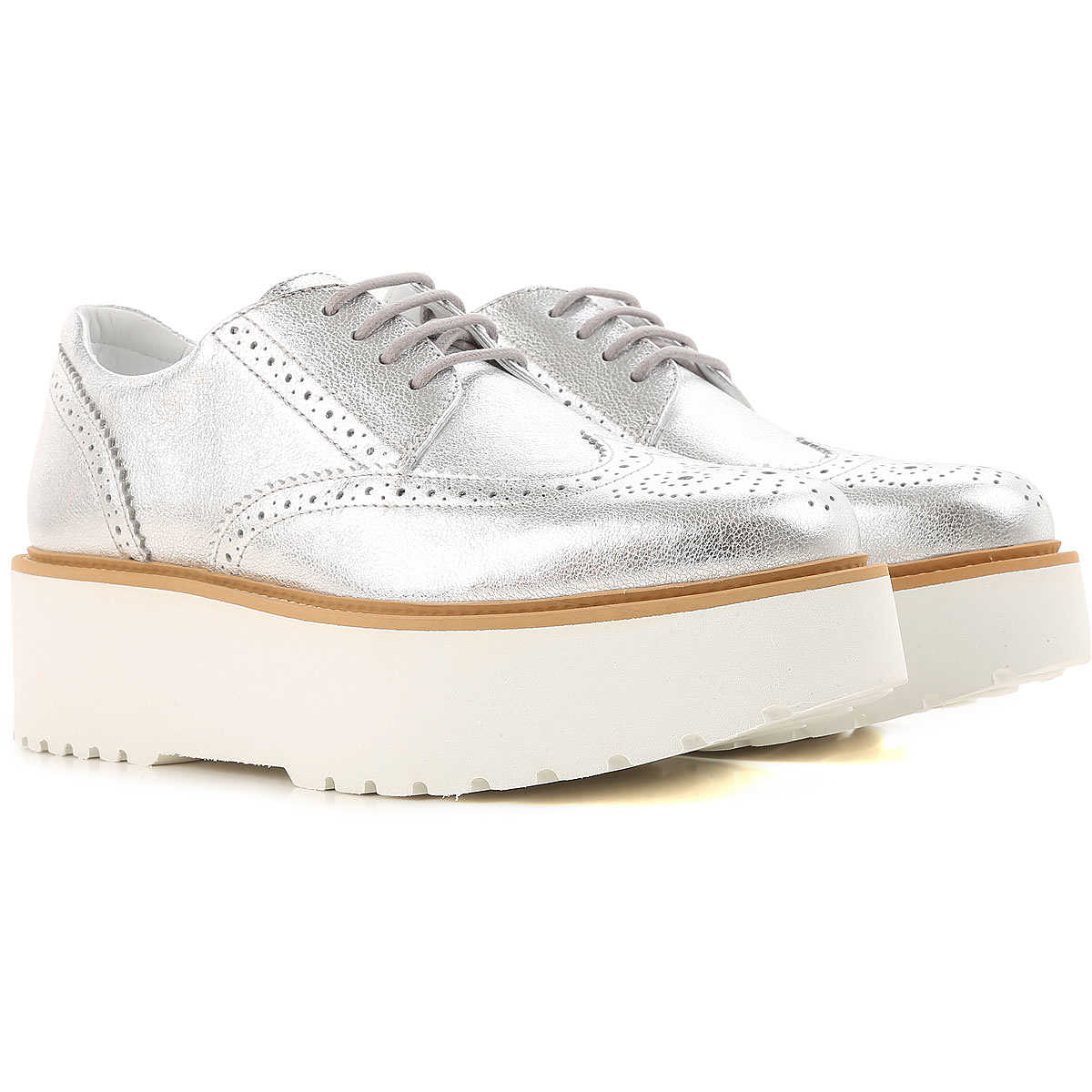 Hogan Wedges for Women On Sale in Outlet Silver DK - GOOFASH - Womens HOUSE SHOES