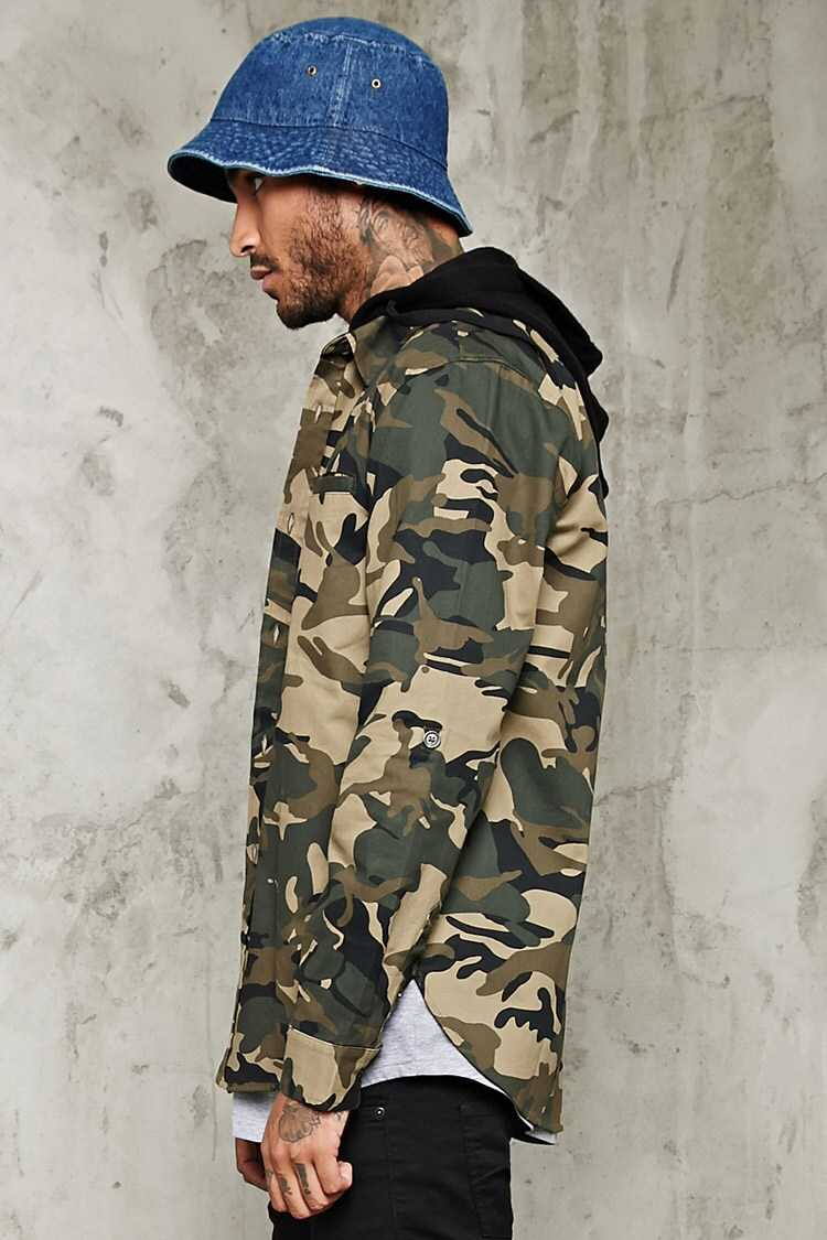 Hooded Camo Print Jacket at Forever 21
