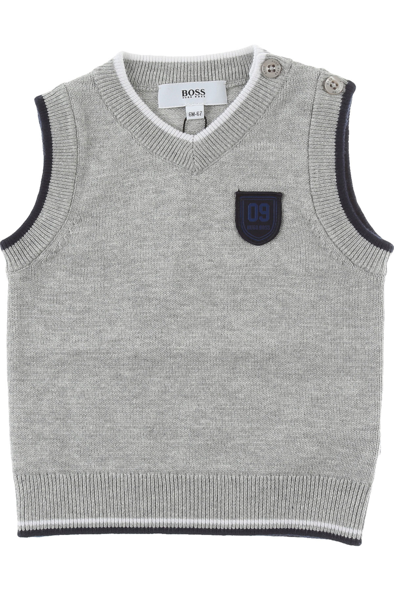 Hugo Boss Baby Sweaters for Boys On Sale Grey DK - GOOFASH - Mens SWEATERS