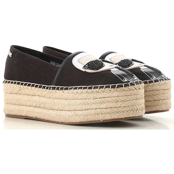 Karl Lagerfeld Wedges for Women On Sale Black DK - GOOFASH - Womens HOUSE SHOES