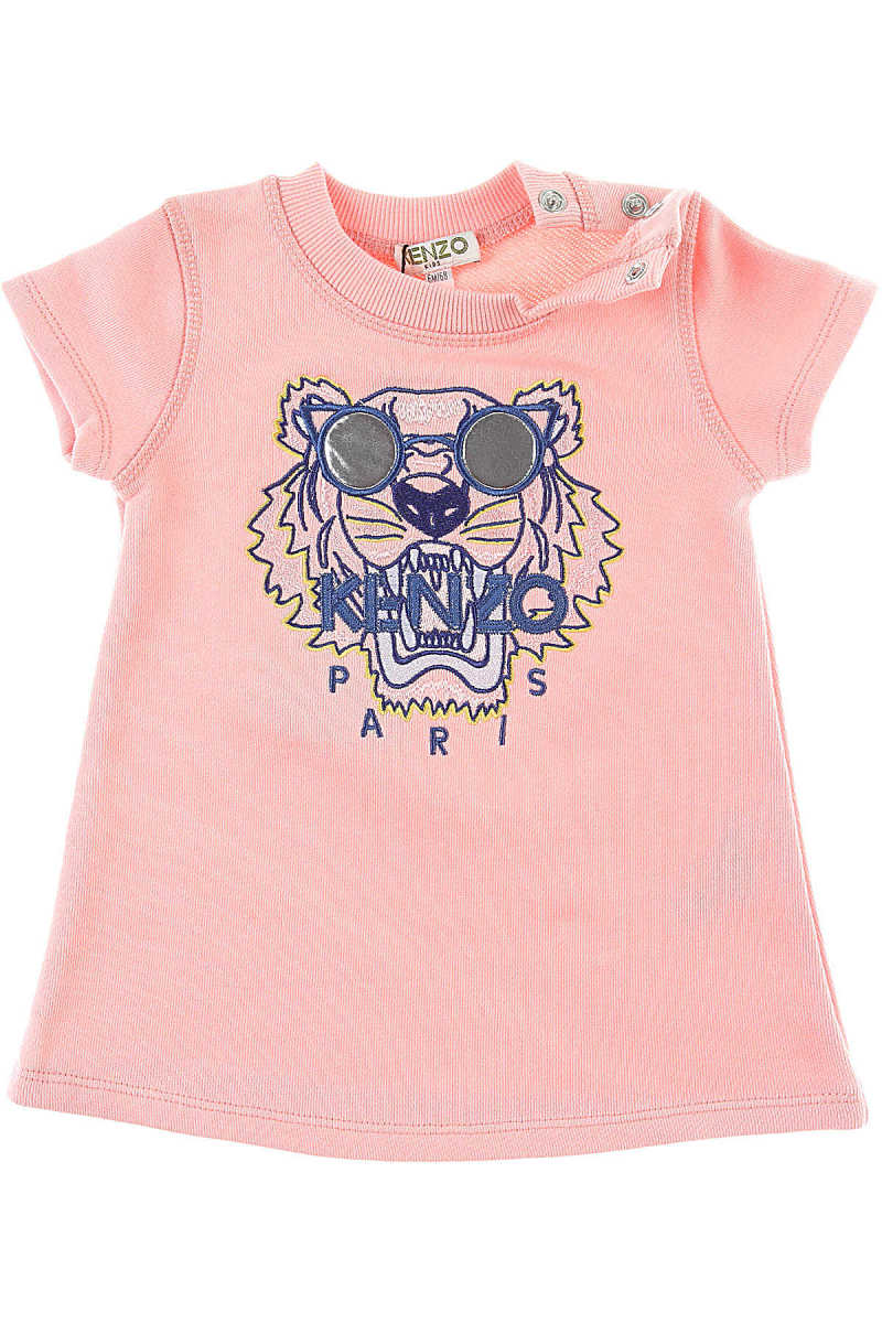 Kenzo Baby Dress for Girls On Sale Middle Pink DK - GOOFASH - Womens DRESSES
