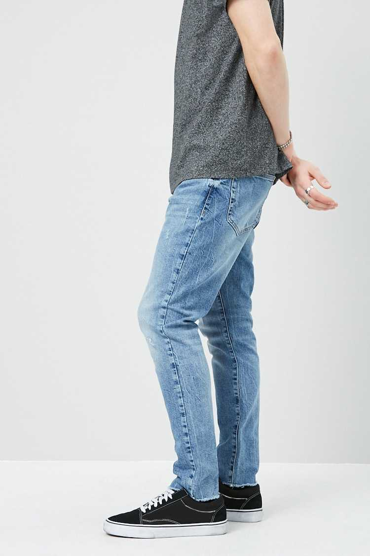 Lightly Distressed Slim-Fit Jeans at Forever 21