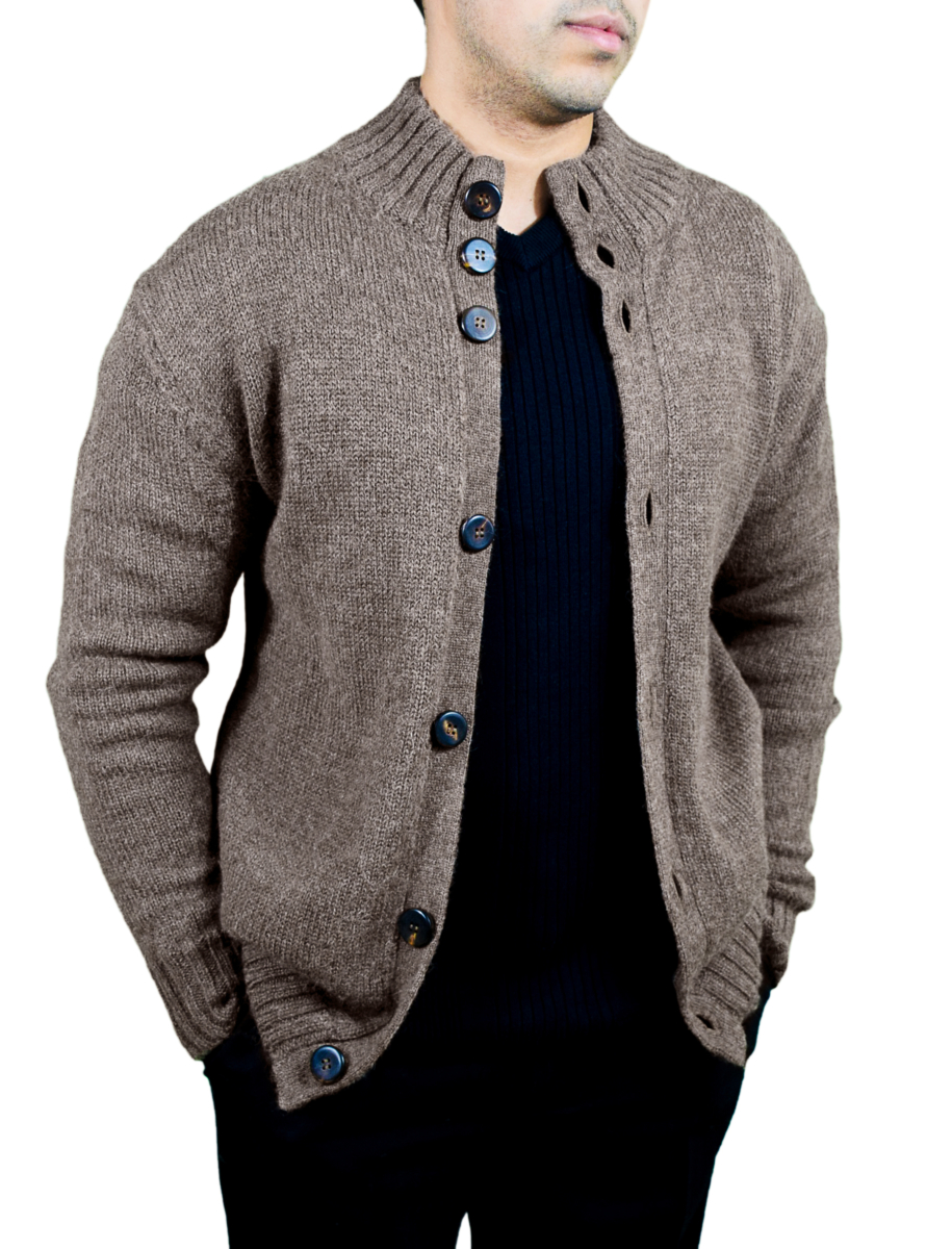 Men's Buttoned Cardigan in Pure Baby AlpacaBrown USA - GOOFASH - Mens KNITWEAR