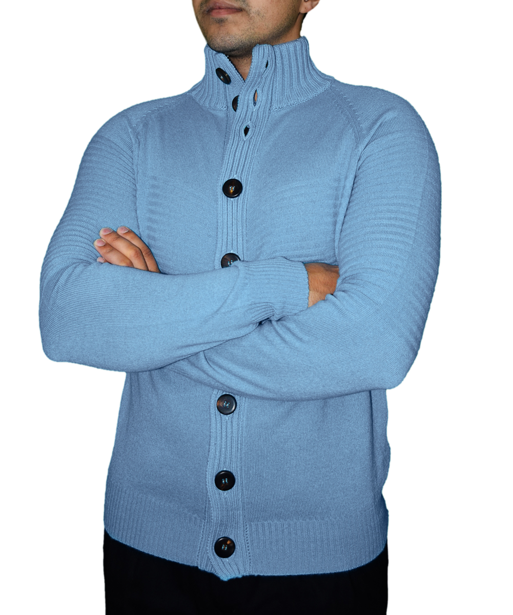 Men's Mock Neck Cardigan in Pure CashmereBlue USA - GOOFASH - Mens KNITWEAR