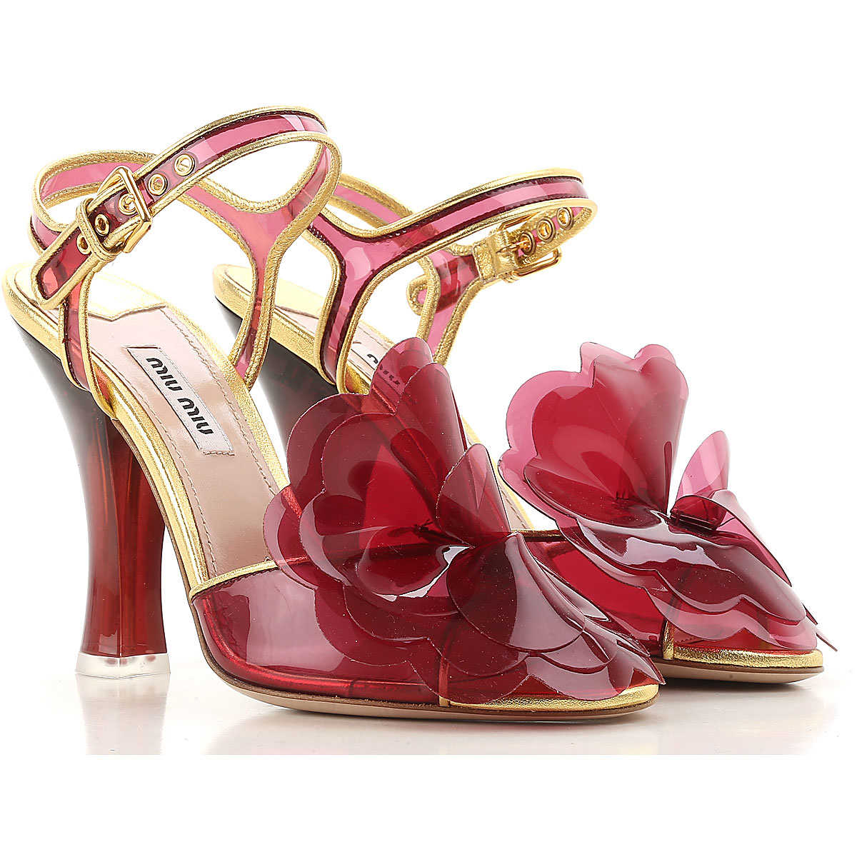 Miu Miu Sandals for Women On Sale in Outlet Ibiscus Red DK - GOOFASH - Womens SANDALS