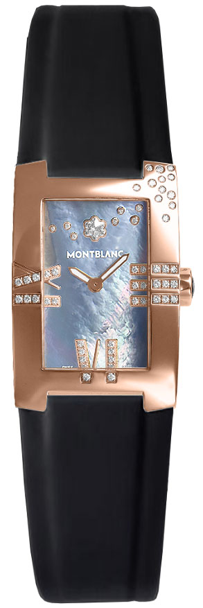 MontBlanc Profile Elegance Gold Women's Diamond Watch 104289 Black Mother Of Pearl USA - GOOFASH - Womens WATCHES