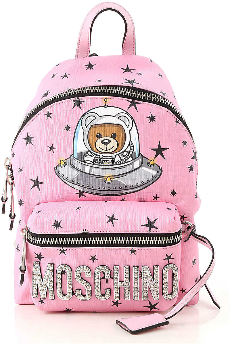 Moschino Backpack for Women On Sale Bright Pink DK - GOOFASH - Womens BAGS