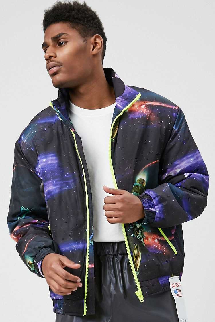 NASA Space Print Puffer Jacket at Forever 21