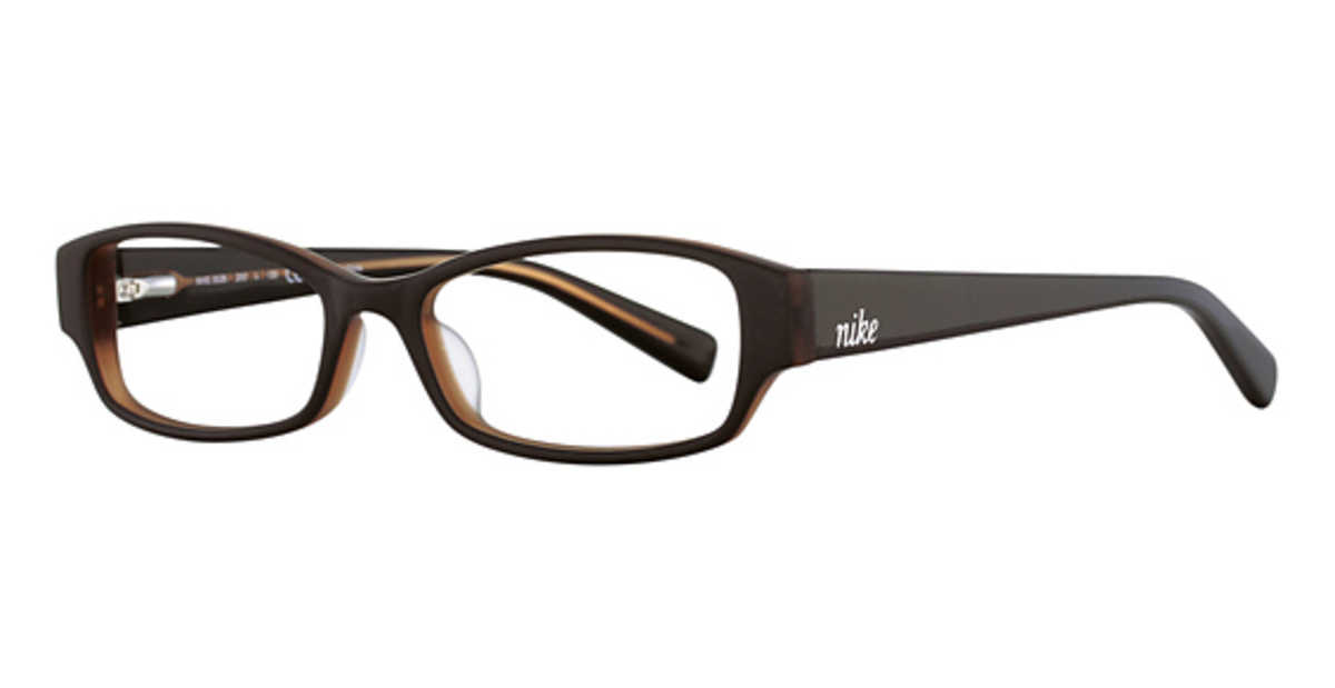 Nike Nike 5526 Eyeglasses (200) Matte Brown USA - GOOFASH - Womens SUNGLASSES
