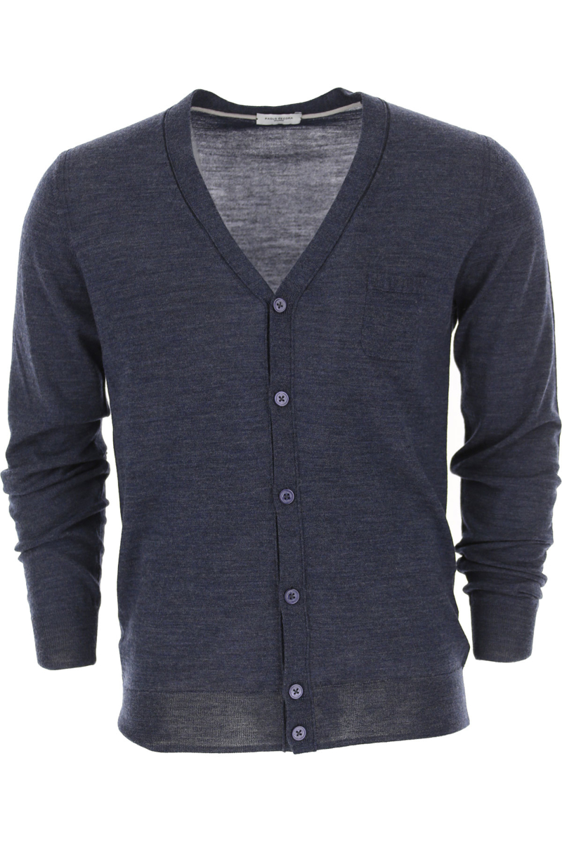Paolo Pecora Sweater for Men Jumper Open Blue DK - GOOFASH - Mens SWEATERS