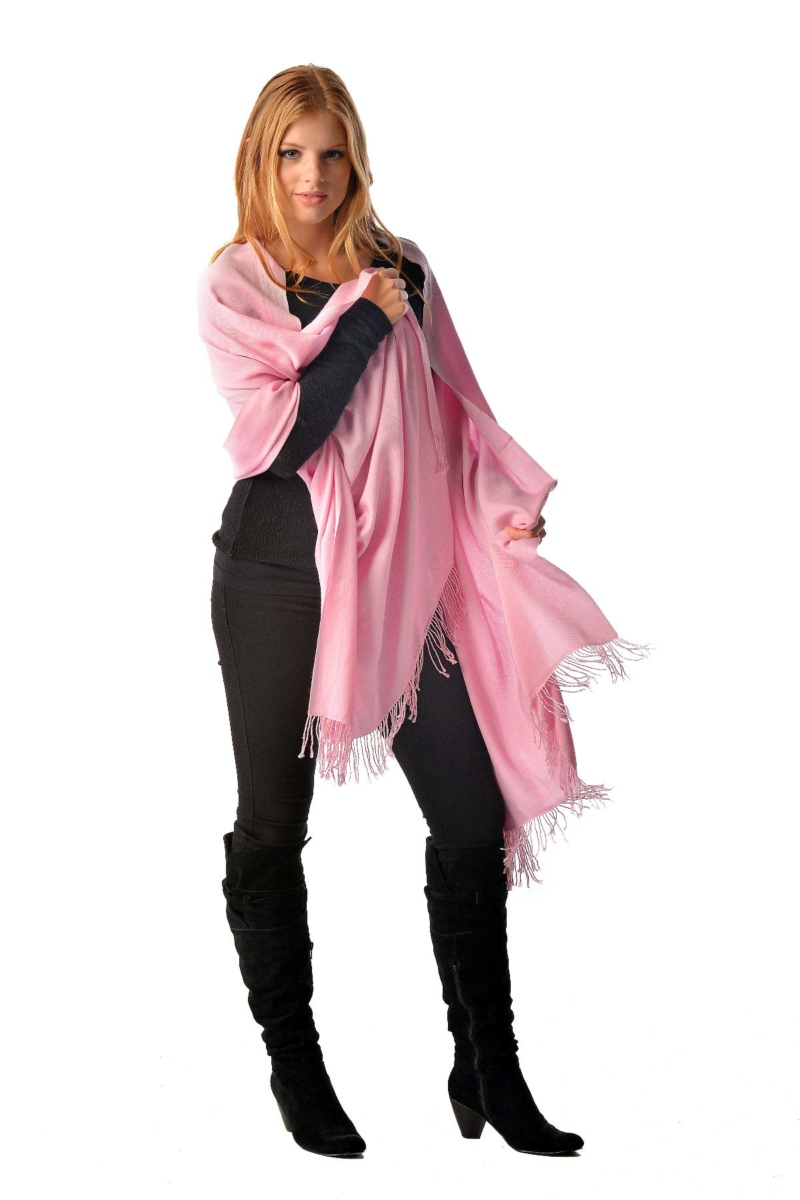 Pashmina Shawl With Beaded Tassels - Pale Blossom Pink USA - GOOFASH - Womens SCARFS