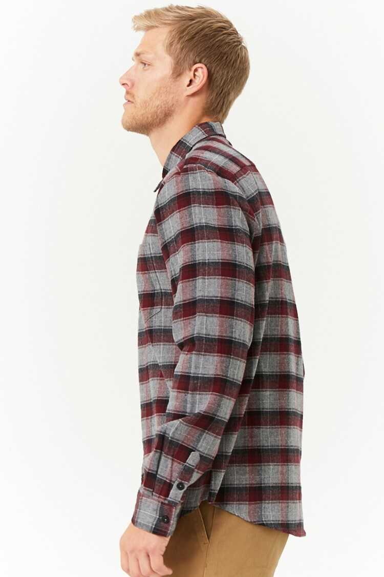 Plaid Slim-Fit Flannel Shirt at Forever 21