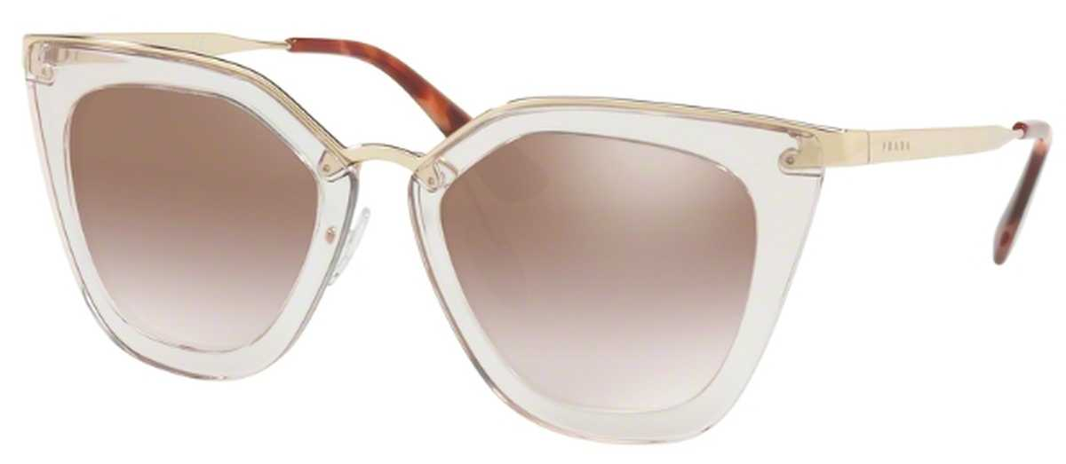 Prada PR 53SS Sunglasses Transparent Brown with Gradient Brown Mirror Silver Lenses USA - GOOFASH - Womens SUNGLASSES