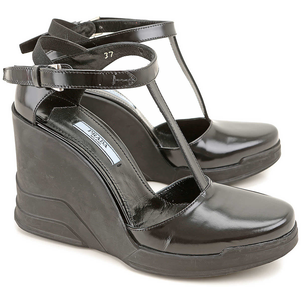 Prada Wedges for Women On Sale in Outlet Black DK - GOOFASH - Womens HOUSE SHOES