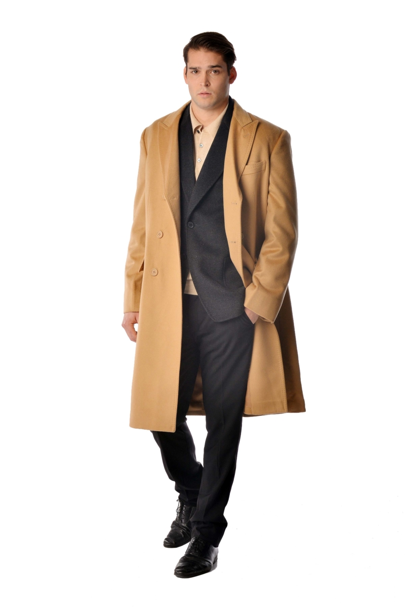 Pure Cashmere Double Breasted Coat for Men Black USA - GOOFASH - Mens COATS