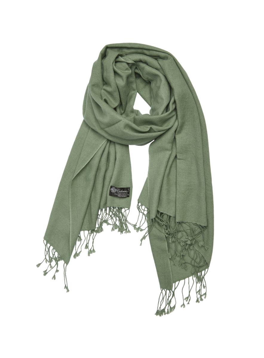 Pure Cashmere Shawl Green USA - GOOFASH - Womens SCARFS