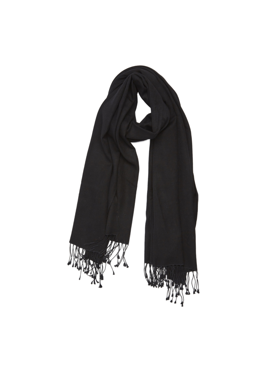 Pure Pashmina Wrap Black USA - GOOFASH - Womens SCARFS