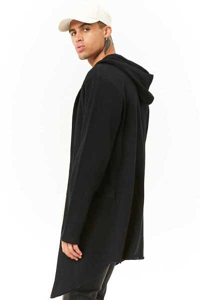 Raw-Cut Hooded Cardigan at Forever 21