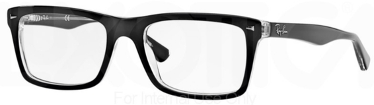 Ray Ban Glasses RX 5287 Eyeglasses Top Black on Transparent USA - GOOFASH - Mens SUNGLASSES