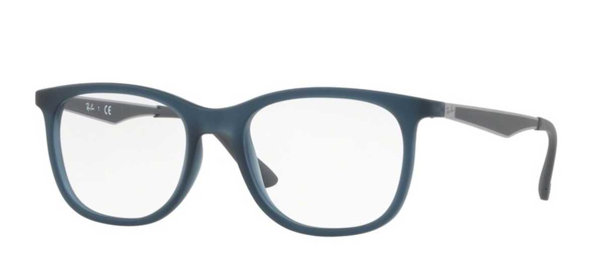 Ray Ban Glasses RX 7078 Eyeglasses Matte Transparent Blue USA - GOOFASH - Mens SUNGLASSES