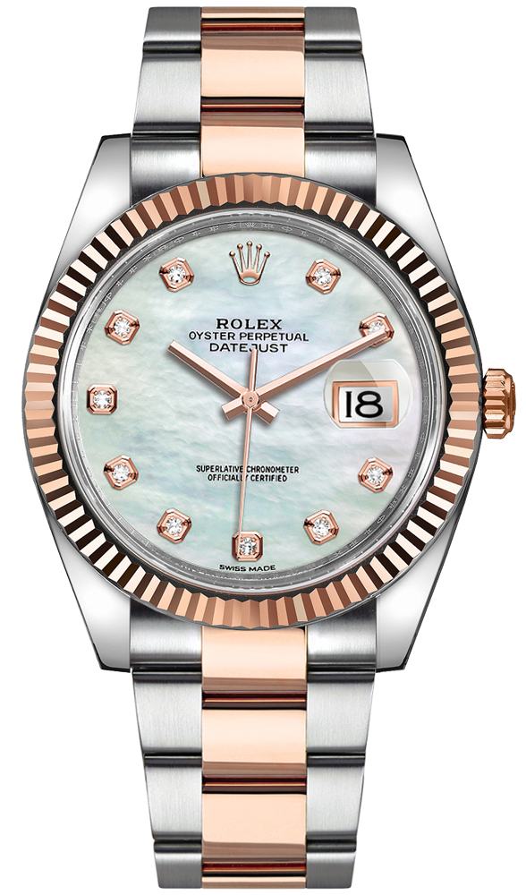 Rolex Datejust 41 Everose Gold Fluted Bezel Men's Watch 126331 White Mother Of Pearl USA - GOOFASH - Mens WATCHES