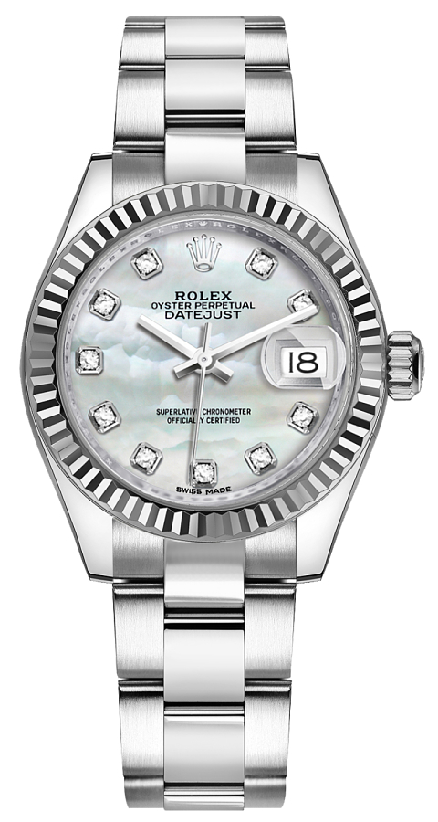 Rolex Lady-Datejust 28 Mother of Pearl Diamond Watch 279174 White Mother Of Pearl USA - GOOFASH - Womens WATCHES