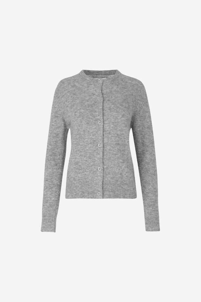 Samsoe & Samsoe Nor Short Cardigan - Grey Mel. DK - GOOFASH - Womens KNITWEAR