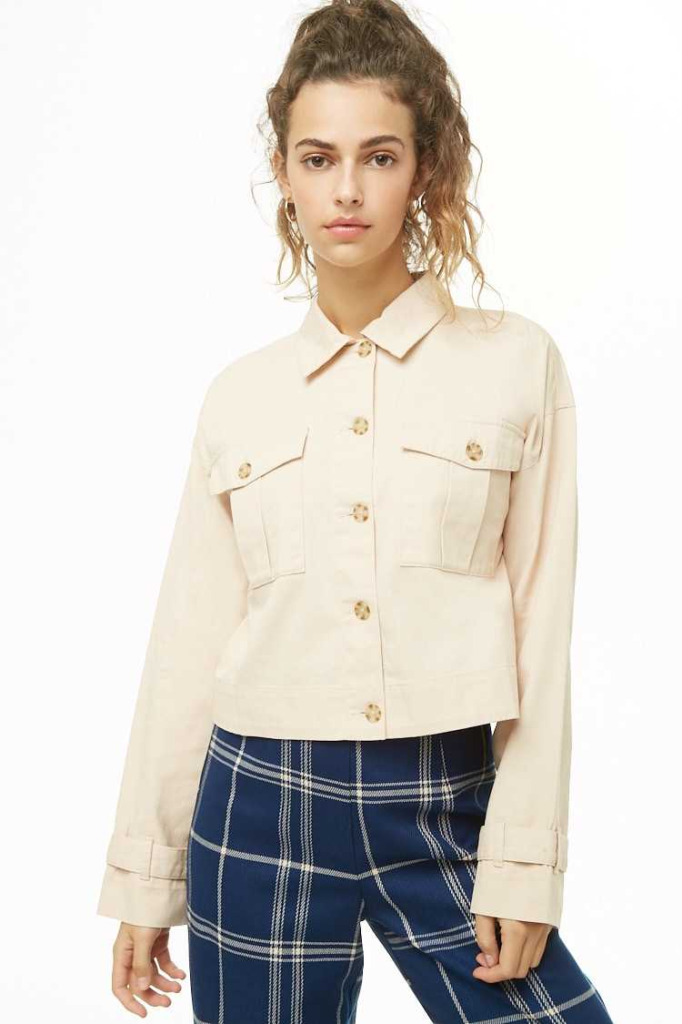 Semi-Cropped Button-Down Jacket at Forever 21