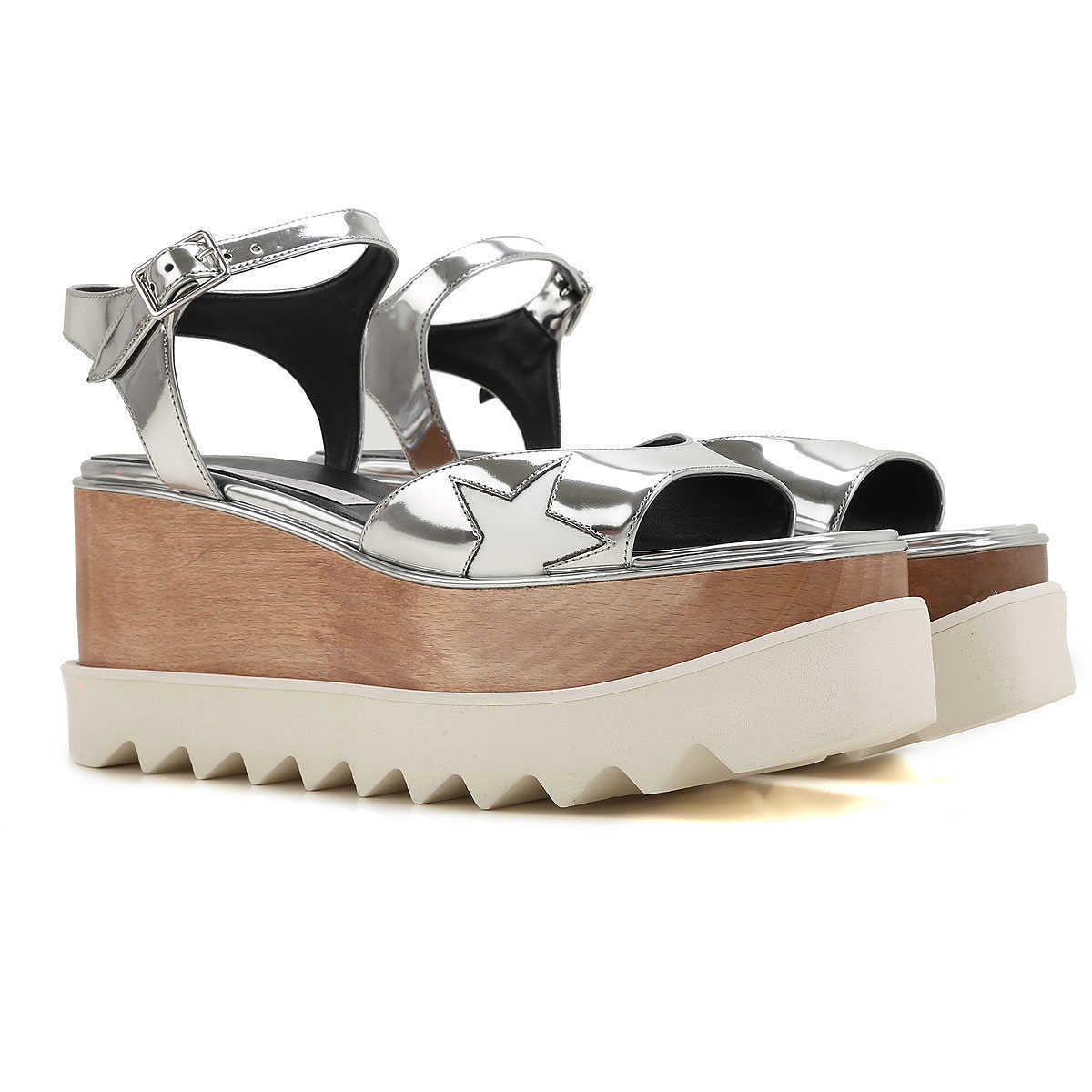 Stella McCartney Wedges for Women On Sale Silver DK - GOOFASH - Womens HOUSE SHOES