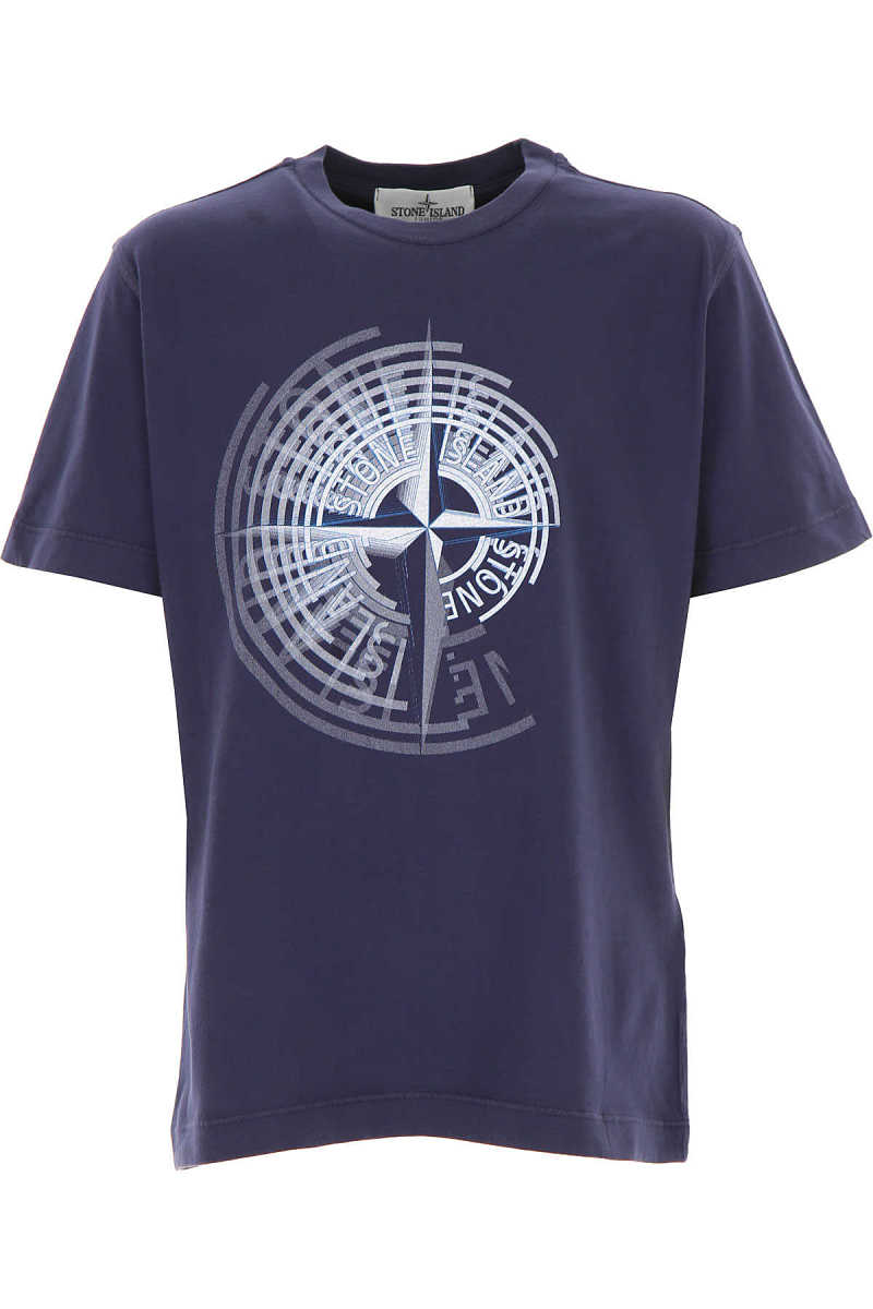 Stone Island Kids T-Shirt for Boys On Sale Blue DK - GOOFASH - Mens T-SHIRTS