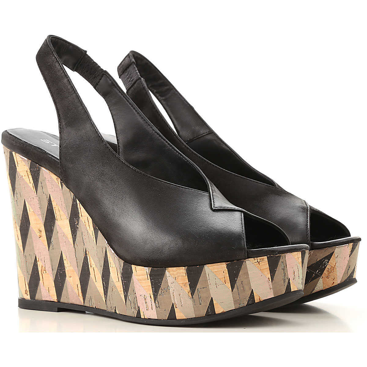 Strategia Wedges for Women On Sale Black DK - GOOFASH - Womens HOUSE SHOES