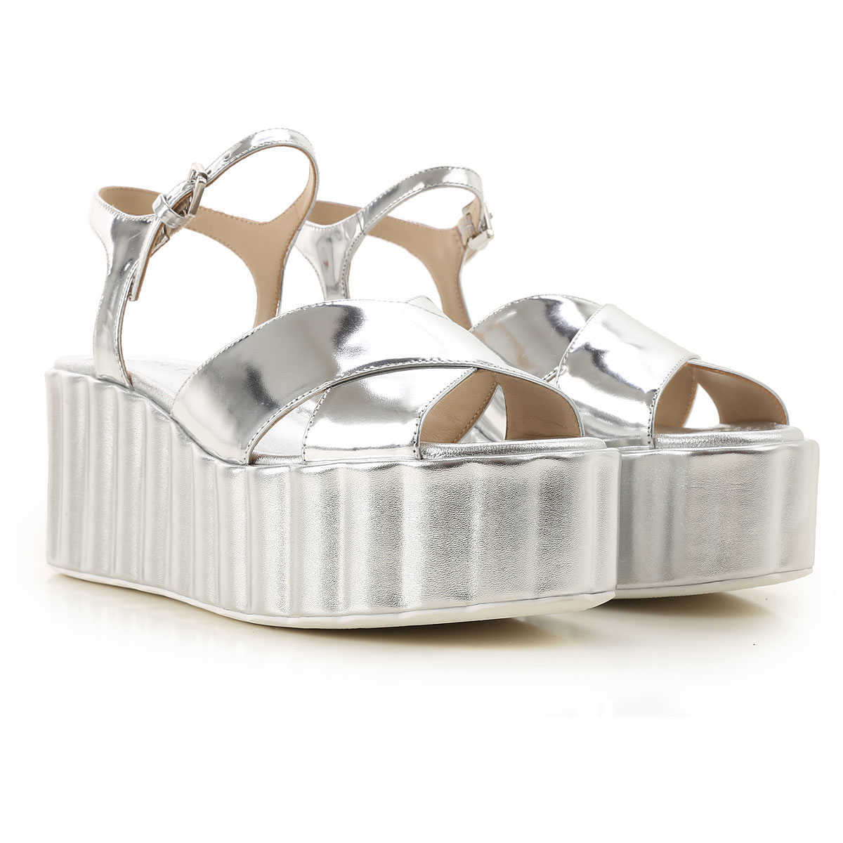 Strategia Wedges for Women On Sale Silver DK - GOOFASH - Womens HOUSE SHOES