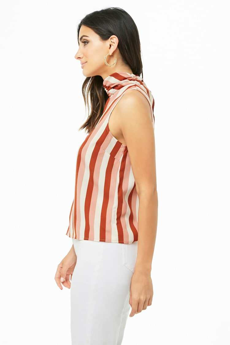 Striped Mock Neck Top at Forever 21