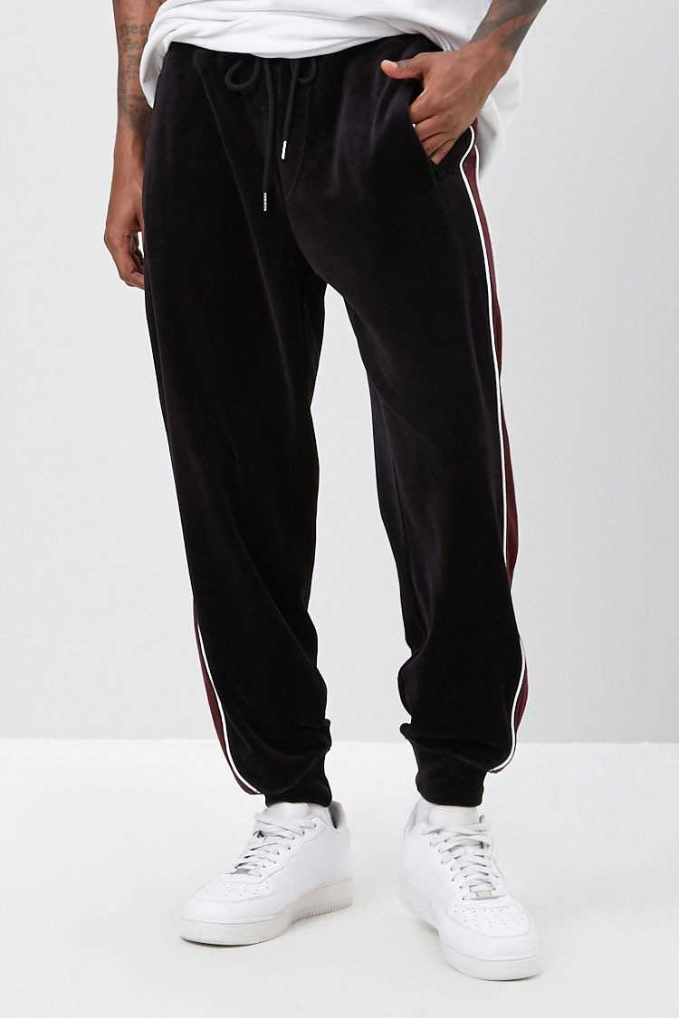 Striped Velour Joggers at Forever 21
