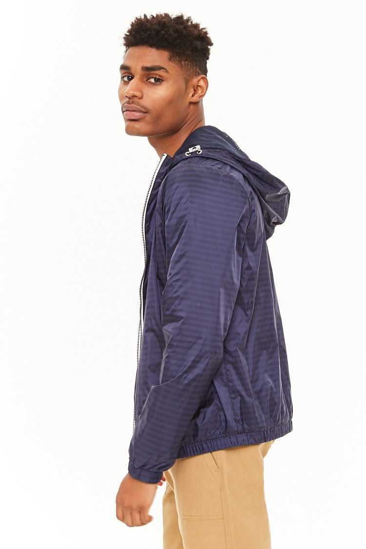 Striped Zip-Front Windbreaker at Forever 21