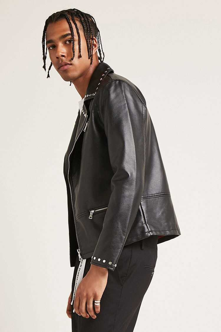 Studded Faux Leather Jacket at Forever 21