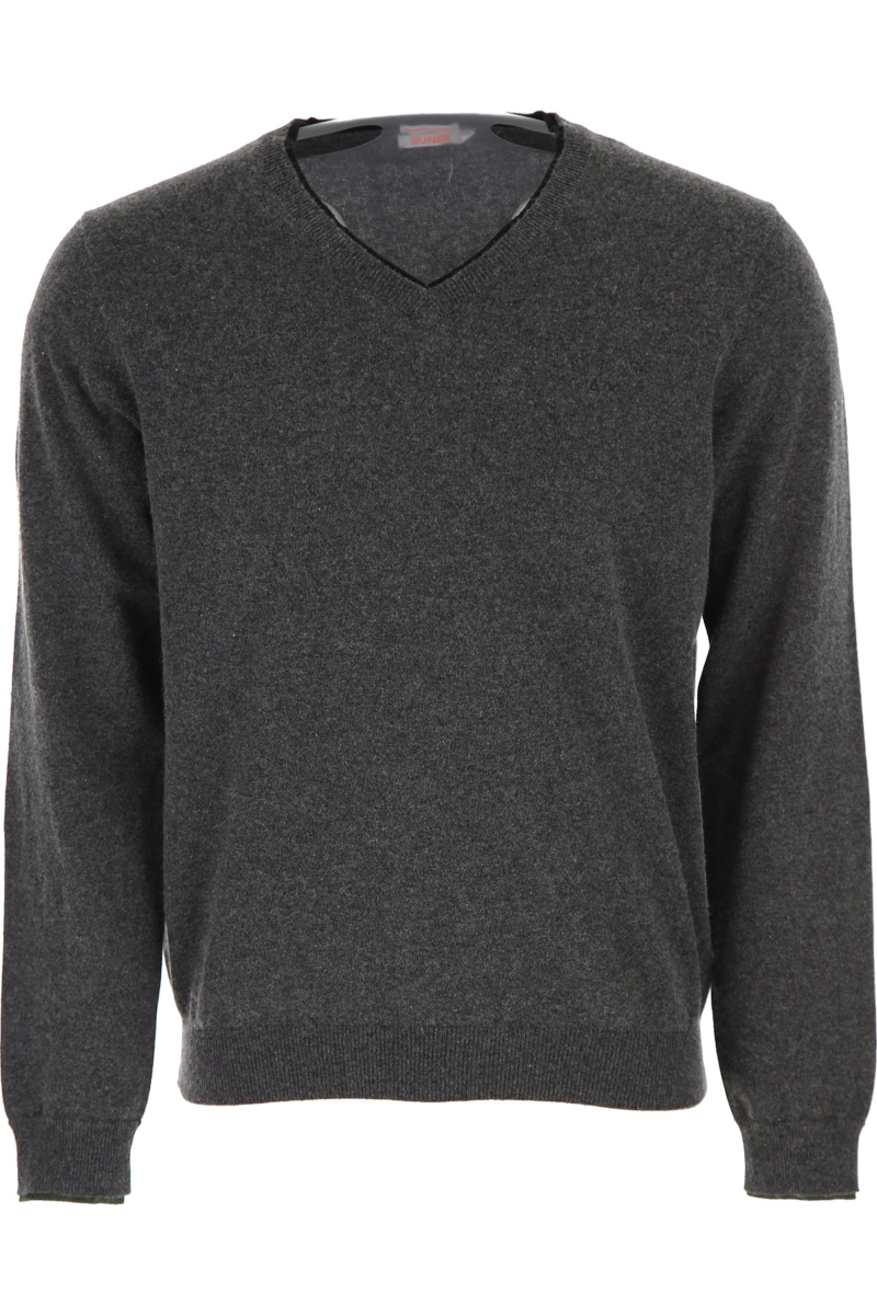Sun68 Sweater for Men Jumper On Sale in Outlet Dark Grey DK - GOOFASH - Mens SWEATERS